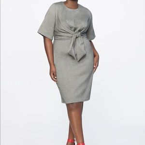 Gray Work Dress with tie front detail.